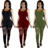 Women Sleeveless Casual Bodycon Romper Jumpsuit Club Bodysuit Long Yoga Ripped Pants
