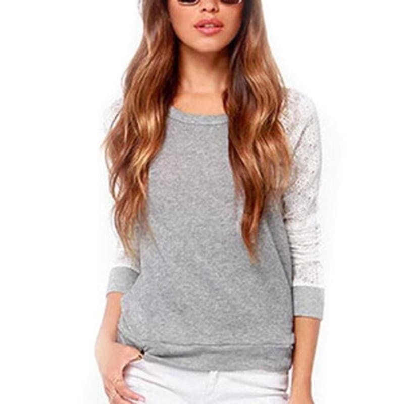 Women Spring Summer Crew Neck Long Sleeve Lace Stitching T-shirt
