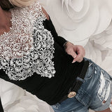 Women Tops Lace Off Shoulder Long Sleeve T Shirt Splicing Top