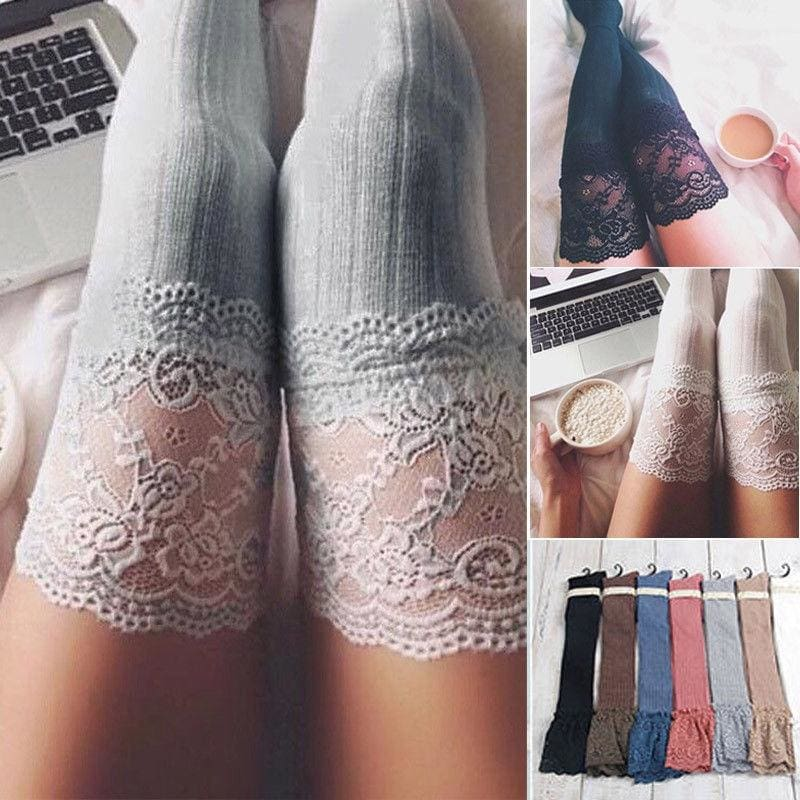 Women Cute Cable Knit Over knee Long Boot Winter Warm Thigh-High Socks Leggings