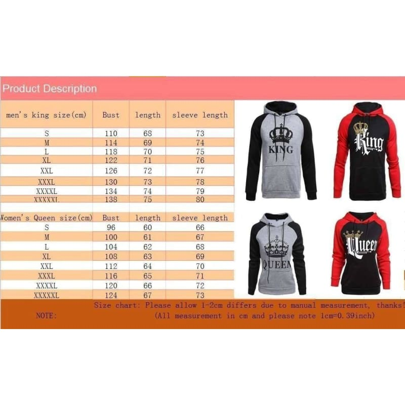 Womens and Men Couple Clothes Long Sleeve Hoodie Coat Gray King and Queen Print Lover Hooded Sweater Joy Dragon