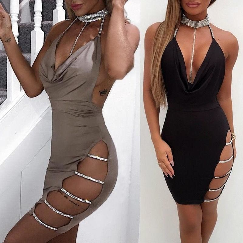 Dress Party Cocktail Bodycon Club Mini Short Womens Sleeveless Evening Bandage