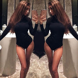 Womens Bodycon Bodysuit V Neck Long Sleeve Bandage Jumpsuit Romper Leotard Tops