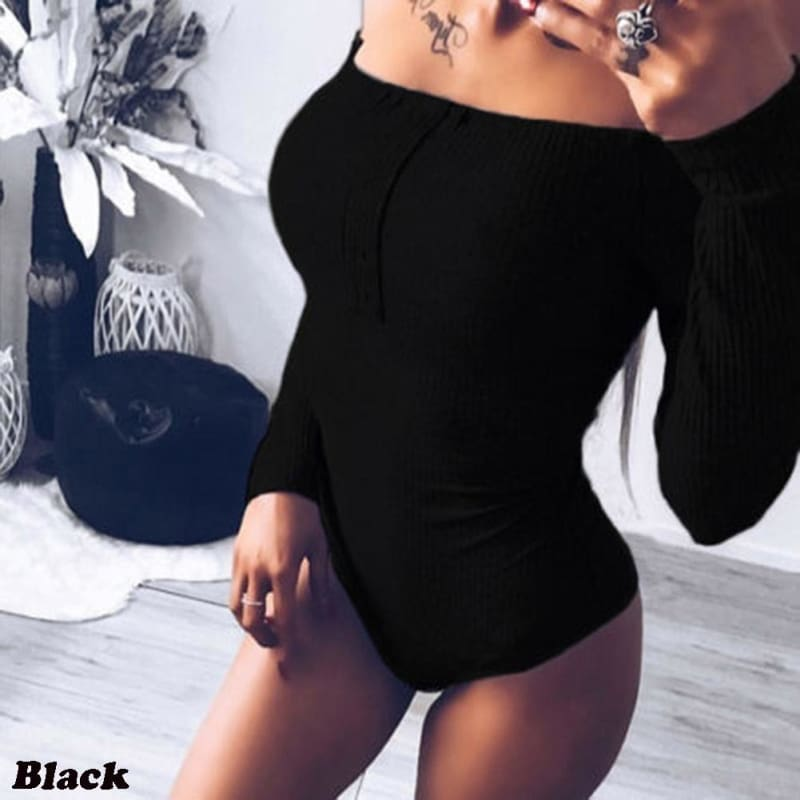 Womens Clothing Fashion Sexy Women Bodysuits Off Shoulder Skinny Jumpsuits Long Sleeve T Shirt Casual Tops for Women