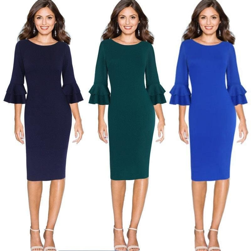 Women 3//4 Bell Sleeve Party Cocktail Casual Slim Mini Dress Tunic Green S M L XL