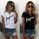 Womens Fashion Casual O Neck Letter Print T Shirt Summer Plus Size Tops