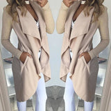 Womens Fashion Casual Pocket Irregular Cardigan Coat