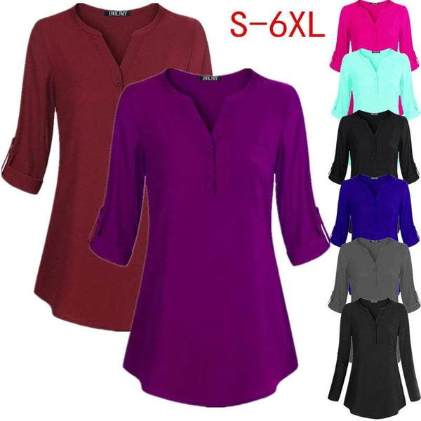 Womens Fashion Casual V-neck Solid Color Chiffon Shirt Button Pocket Loose T Shirt Long Sleeves Tops Blouses Plus Size S-6XL