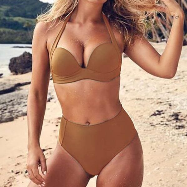 Womens Fashion High Waisted Push Up Bikini Set Ladies Swimwear for Summer Beachwear Bathing Suit