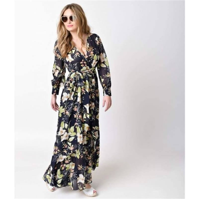 New Women Floral Boho Maxi Dress Evening Party Cocktail Beach Sundress Plus Size