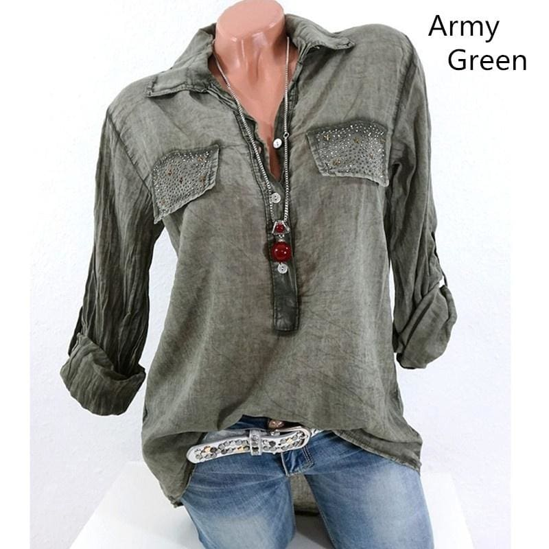Womens Fashion Long Sleeve Lapel Pure Color Casual Loose Blouse Plus Size S-5XL