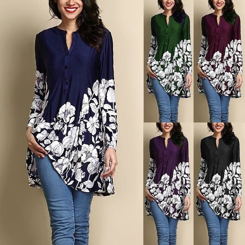 S-5XL Women/'s 3//4 Long Sleeve Floral Hollow Out Ruffled Tops Blouse Tunic Autumn