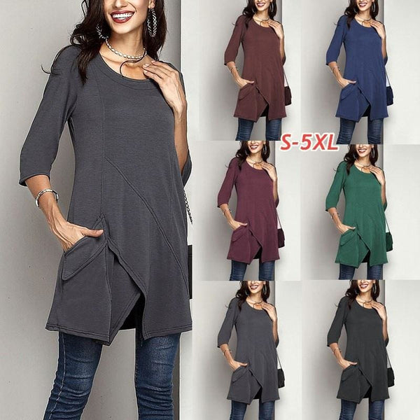 Womens Fashion Round Neck Long Sleeve Irregular Pure Colot Tunic Top T Shirt Plus Size S-5XL NK3902