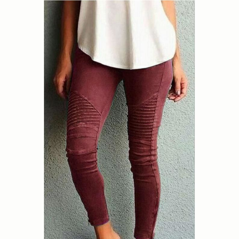 Womens Fashion Sexy High Waist Fitness Pants Casual Plus Size Pure Color Slim Leggings