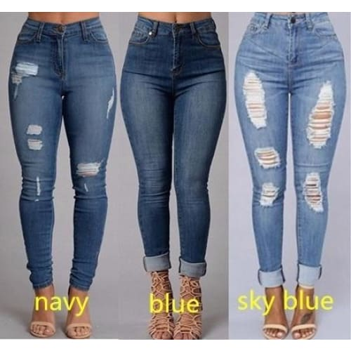 Womens fashion Sexy High Waist Pencil Jeans Casual Blue Ripped Denim Pants Lady Long Skinny Slim Maxi Jeans Trousers