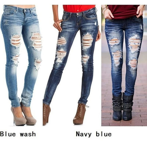 Womens Fashion Sexy Middle Waist Pencil Jeans Casual Blue Ripped Denim Pants Lady Long Skinny Slim Maxi Jeans Trousers