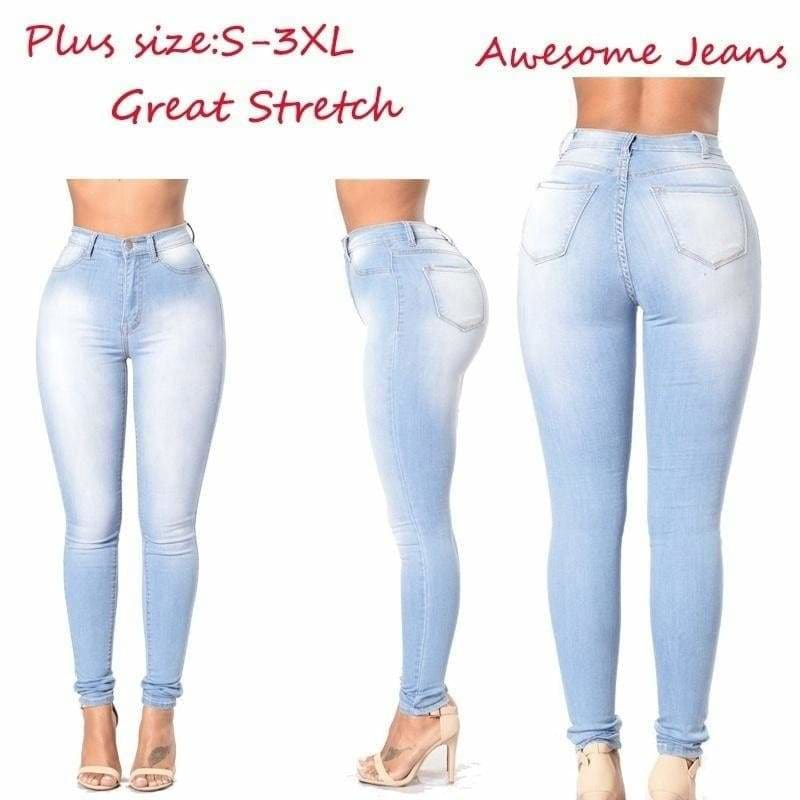 women\'s grinding white elastic waist skinny stretch jeans Plus Size High  Waist Jeans washed casual skinny pencil pants
