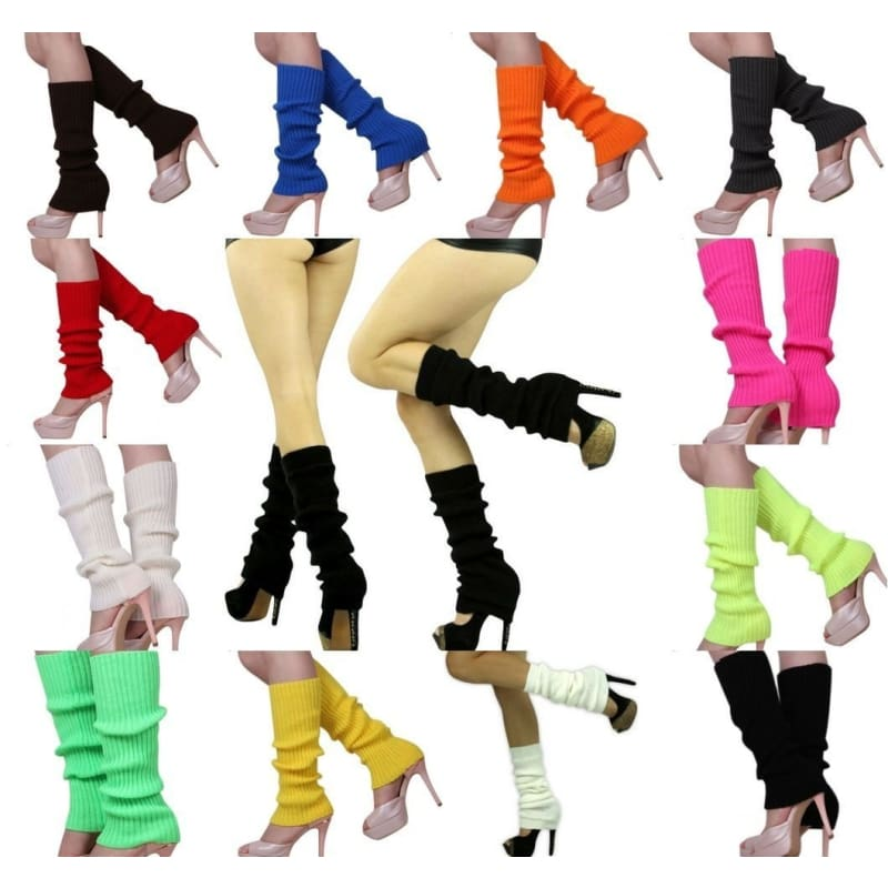 Summer Red Neon Long 90s Thigh High Leg Warmers Dance Tights Sale
