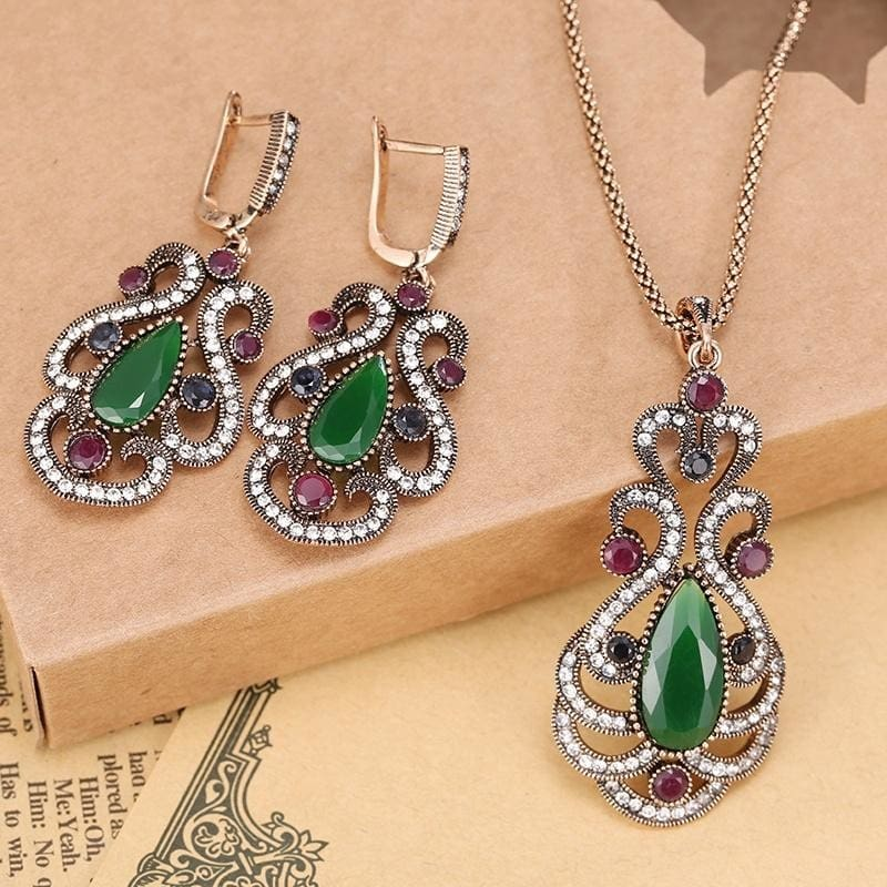Fashion Imitation Pearl Jewelry Sets Hollow Out Water Drop Necklace Earrings/'Set
