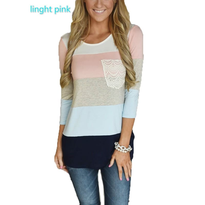 Womens O-neck Striped 3/4 Sleeve Floral Blouse Tops Patchwork Casual Blouse