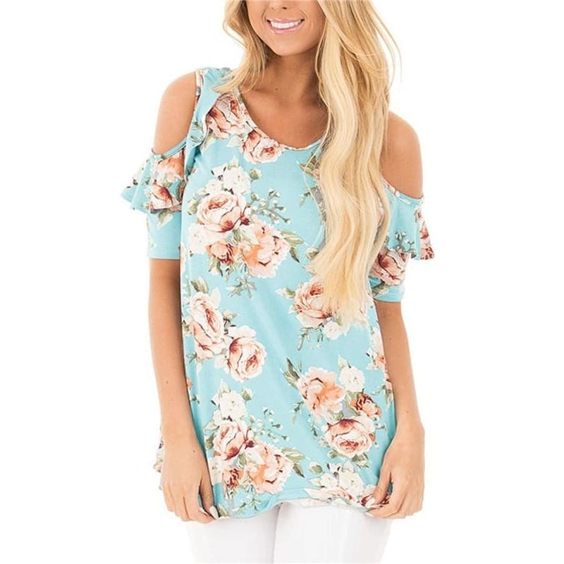 Womens off Shoulder Floral Print With Ruffle Sleeve Blouse Casual Tops T Shirt - gowns Cocktail Evening Dress Dress Lace Dress ball gown