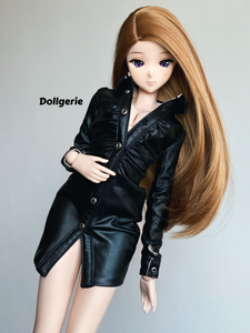 Black Faux Leather Overcoat for SmartDoll