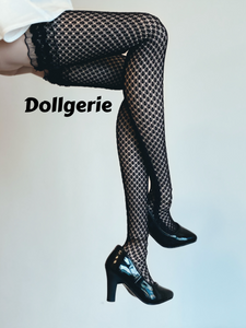 Black Thigh High Lace Top Double Drawn Fishnet Stocking for SmartDoll/ DD