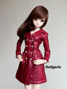 Burgundy Double Breasted Trench Coat for SmartDoll