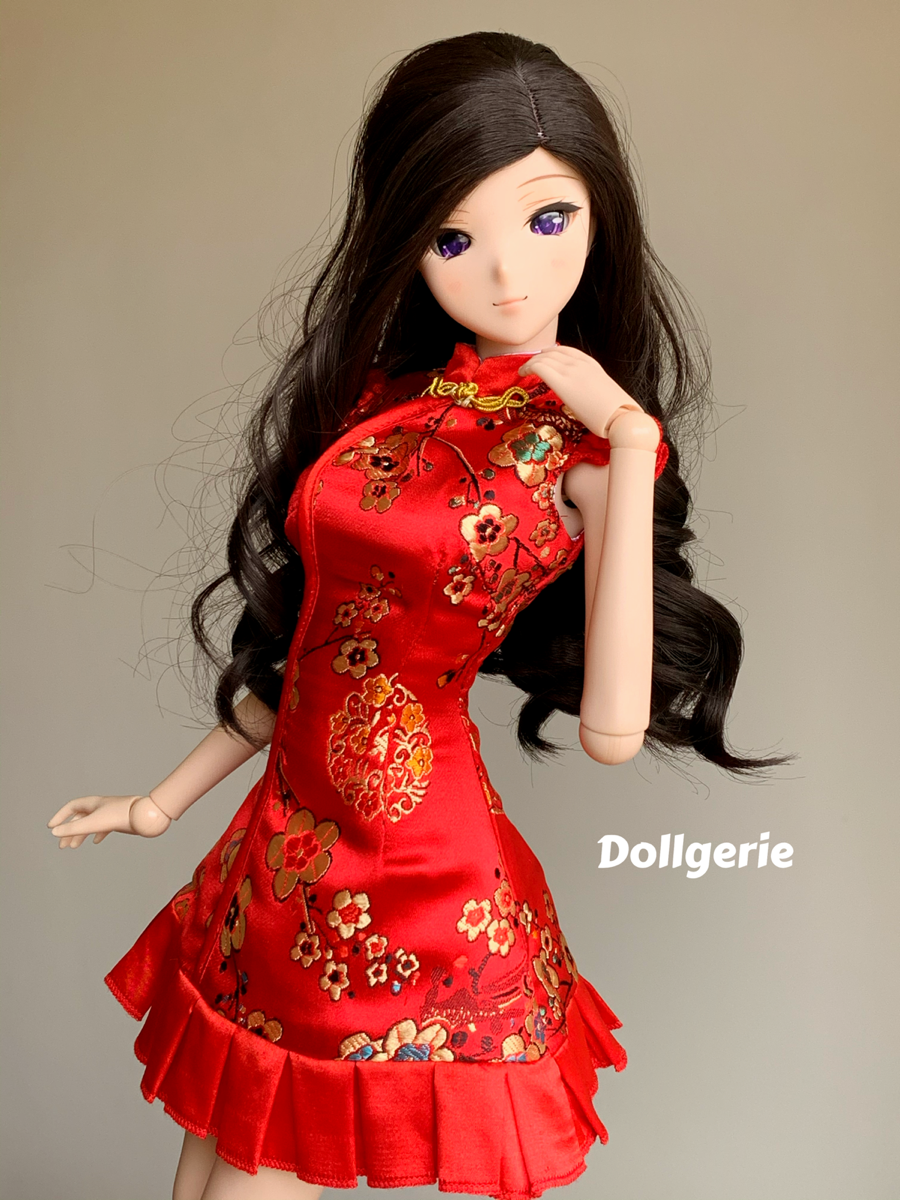 Red Oriental Neck Embroidery Skater Dress