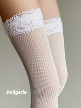 White Thigh High Lace Trim Top Stocking for SmartDoll / DD