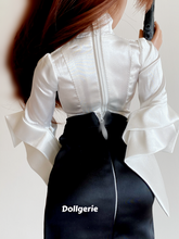 Double Breasted Slim Fit Satin White Blouse