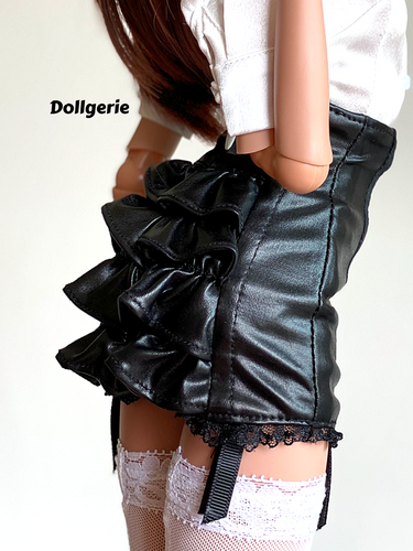 Ruffled Tail Faux Leather Mini Skirt