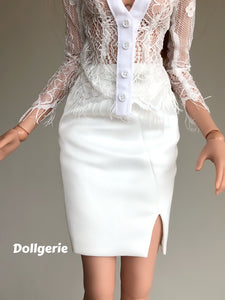 Elegant White Pencil Skirt for SmartDoll / DDdy / SD13