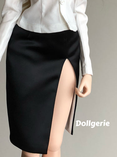 Elegant Black Pencil Skirt with High Skirt-Slit for SmartDoll