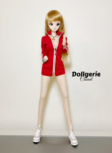 Front zip red midi dress for SmartDoll / DDdy / SD13