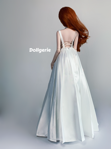 [Special Price] Deep-v a-line white long wedding gown