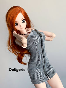 Houndstooth Zip-Front Tube Dress for SmartDoll / DD