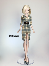 Front Zip 3/4 Sleeves Bodycon Midi Dress for SmartDoll