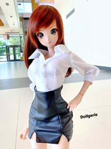Widely open collar puffy sleeves white shirt for SmartDoll / DD3 / DDdy