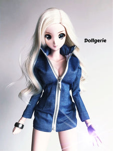 Front zip denim midi dress for SmartDoll / DDdy / SD13