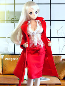 Bright red trenchcoat designed for SmartDoll