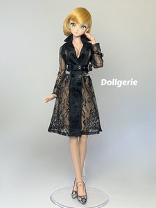 Signature Black Lace Trench Coat for DDdy /DD3 /SmD