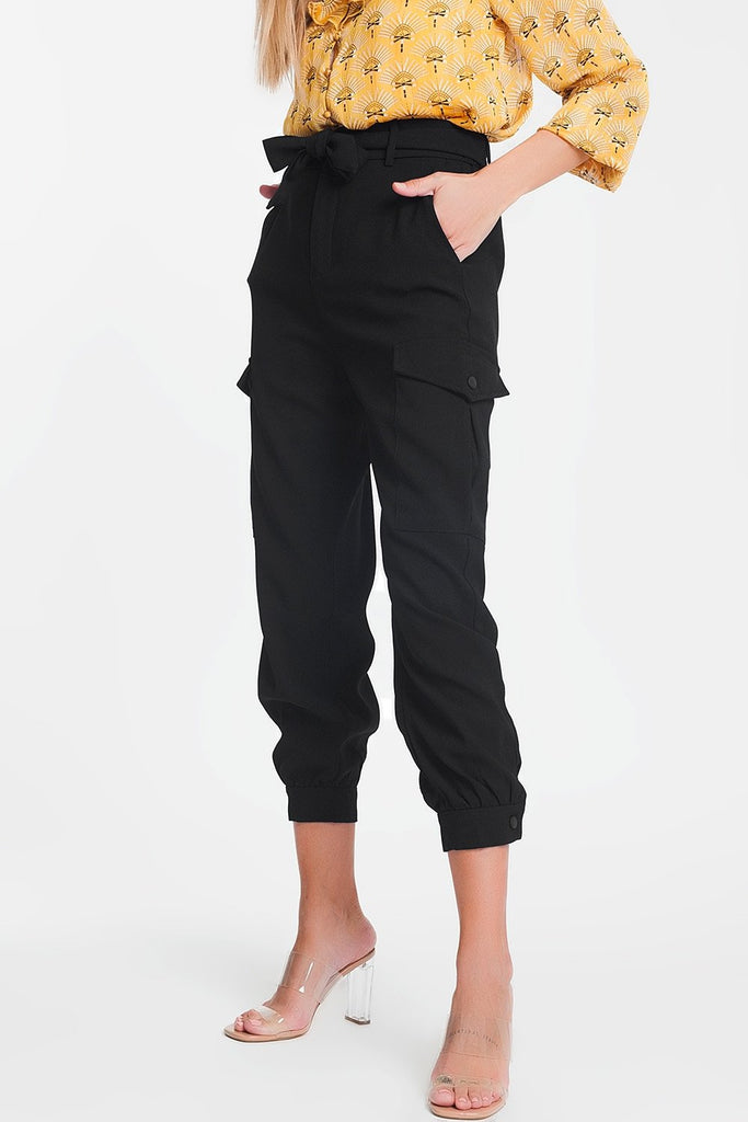 Cargo Pants With Belt in Black