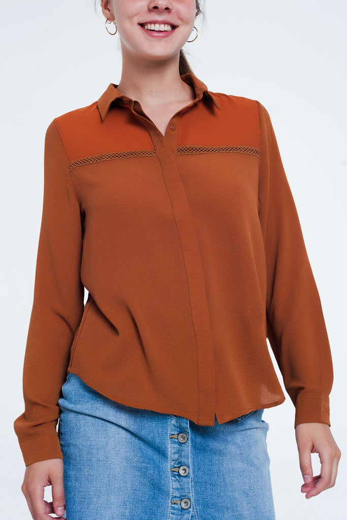 Front Insert Blouse Orange