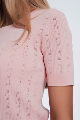 Scoop Neck Short Sleeve Pink Sweater in Fine Knit Rib