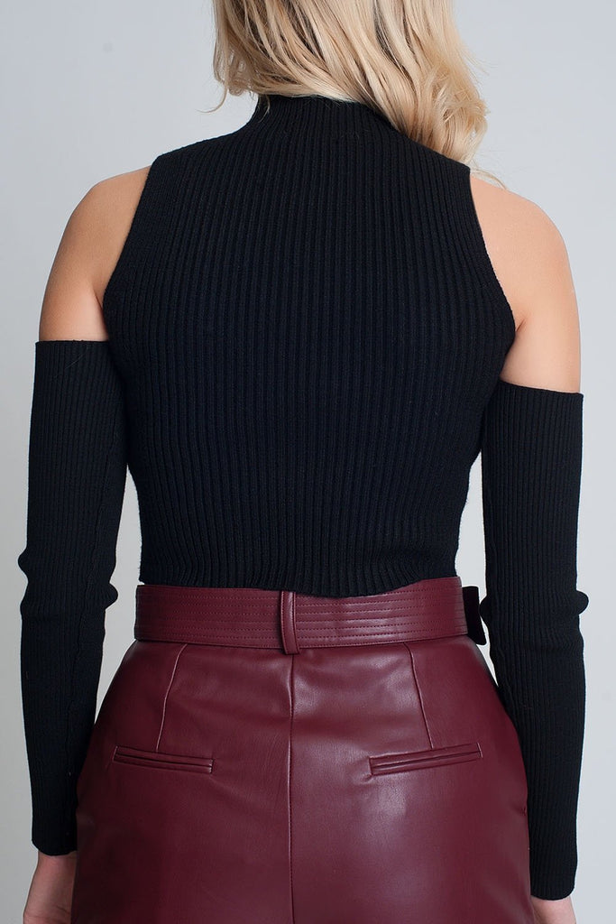 Black Cut Out Rib Sweater in Fine Knit