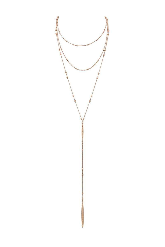 Metal beaded y shape multi layered necklace
