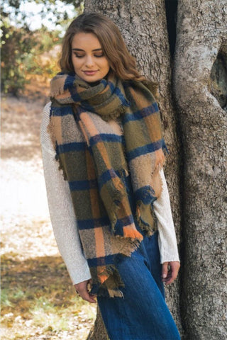 Oversize chunky plaid asymmetrical trim frayed edge scarf