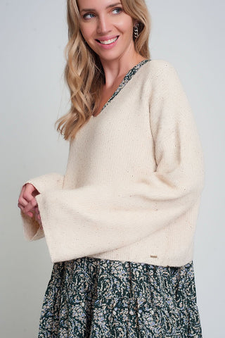 Cream Cardigan in Fine Knit Rib Wit Buttons