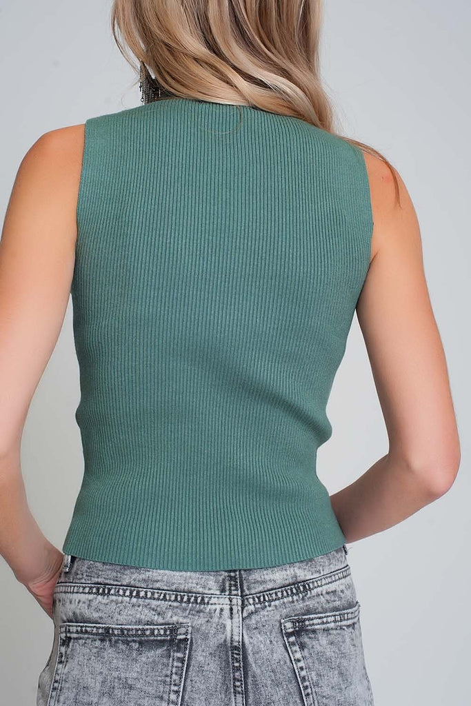 Ribbed Knit Sleeveless Sweater With High Neck in Green